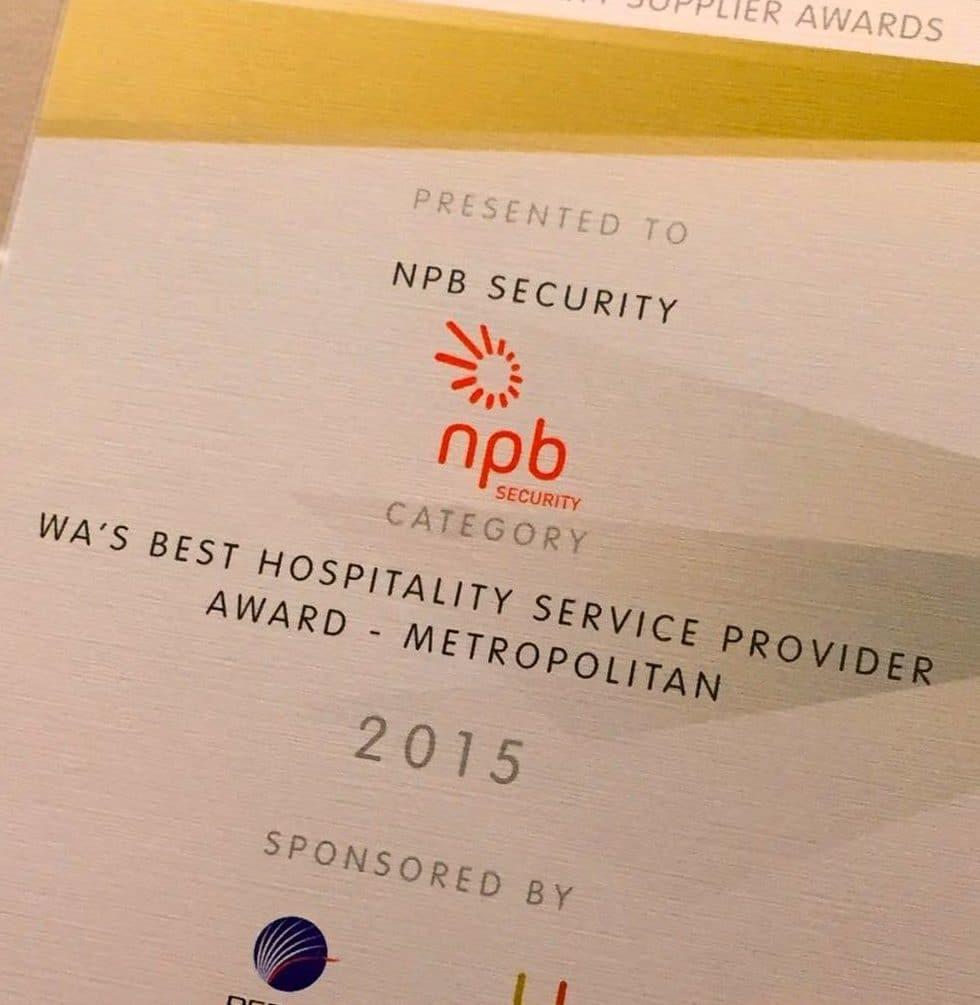 Award for hospitality security